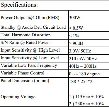 Role Audio Cube amp specifications